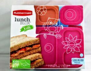 Rubbermaid Lunch Blox Kids 4 Piece Kit With Blue Ice Block Pink Orange BPA Free