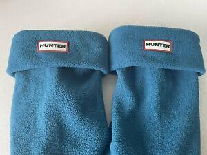 Hunter Kids Wellington Boot Liners Teal Blue Fleece Welly Socks XL Kids UK 3-5