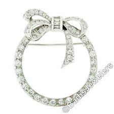 Antique Art Deco Platinum Round & Baguette Diamond Ribbon Bow Wreath Brooch Pin