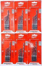 (6PK) MILWAUKEE 48-89-4444 4pc Hex Shank Drill Bit Set