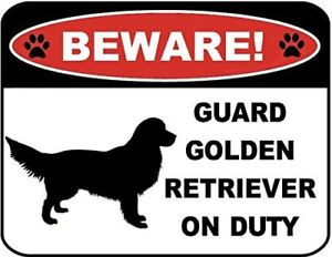 Beware Guard Golden Retriever (Silhouette) on Duty Laminated Dog Sign