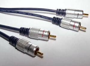 3m Twin Phono 2 RCA to 2 RCA Plug Audio Lead OFC Cable 3m