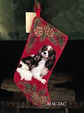 Tri-color King Cavalier Dog Needlepoint Christmas Stocking NWT