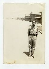 Vintage Photo Young Man Soldier Cigarette African American 40's? 50's? Mar19
