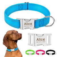 Nylon Reflective Dog Collar Personalized Custom Dog Tag Collars 4 Colors S M L