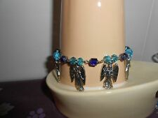 Archangels Bracelet with Cathedral and Rondell Blue Glass Beads