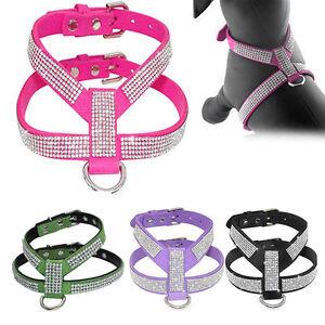 XXS/XS Small Pet Puppy Dog Harness Soft Vest Real Leather W/ Bling Rhinestone