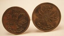 1951 Canadian Maple Leaf Penny Coin Vintage Cuff Links gift copper one cent