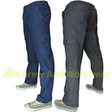 Fully Elasticated Waist Combat Jeans Mens Stretch Denim Smart Leisure Pants NEW