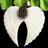 38x38x3mm Carved White Shell Pave Crystal Wing Pendant Bead D2019728