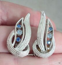 Vtg Coro Earrings Textured Silvertone Blue Sparkly Rhinestones Clip-Ons - Estate