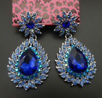 Women's Blue Crystal Rhinestone Flower Teardrop Betsey Johnson Stud Earrings