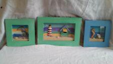 Set of Three Shadow Box Beach Scenes Wall Hangings