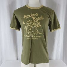 New Hooters Singapore Green Yellow Ringer T-shirt Large