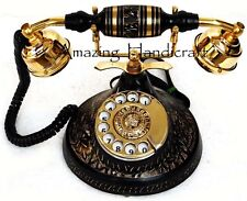 Antique Vintage Look Brass Base Black Finish Rotary Telephone Desk Phone Gift