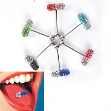 14G Surgical Steel Crystal Ball Barbell Bar Tongue Rings Piercing Body JewelryJR