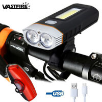Rechargeable Bicycle Headlight Mountain Bike LED Lamp T6+COB Work Front Light