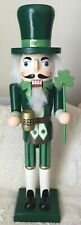 "St Patricks Day Nutcracker Wooden Holding a Beer Stein Shamrock 15"""