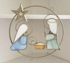 Nativity Scene Stained Glass Window Hangar Christmas Decor Modern Metal 1994