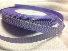 9mm Chevron Purple Grosgrain  Ribbon  3 Meters Length  HairBows Craft Scrapbook