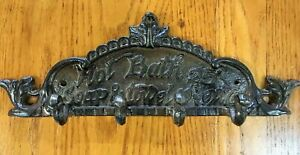 """Hot Bath 25 cents """"soap and towel extra"""" Sign Plaque 4 Hook Hanger farmhouse"""
