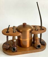 Vintage Pipe Rack / Humidor with Four Antique Pipes - Walnut with Bakelite Knob