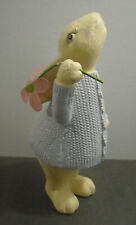 """VINTAGE PURPLE WHITE EASTER BUNNY WITH FLOWER STATUE FIGURE 11"""" TALL"""