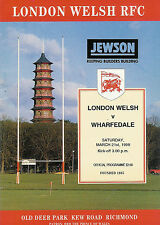 London Welsh v Wharfedale 21 Mar 1998 RUGBY PROGRAMME