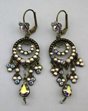 MICHAL NEGRIN Brass Tone AB Rhinestone Chandelier Boho Drop Earrings Signed