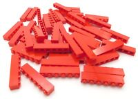 LEGO LOT OF 50 NEW 1 X 6 DOT RED BRICKS BUILDING BLOCKS PIECES