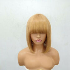 (afb01) Angled Ombre fringe blonde 27 long bob pixie brazilian human hair wig