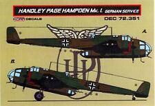 KORA Decals 1/72 HANDLEY PAGE HAMPDEN Mk.I CAPTURED GERMAN VERSION