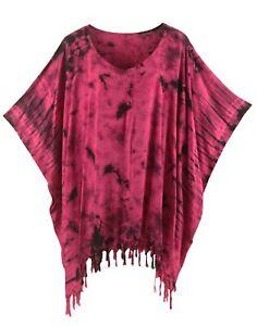 BeautyBatik Fuchsia Womens BOHO HIPPIE Batik Tie Dye Plus Size Tunic Blouse