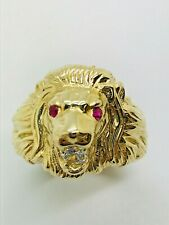14ct (585) Yellow Solid Gold CZ Lion's Head Ring