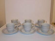 6 x bianco in ceramica tazze e piattini PLATINUM Stripe la Royal Collection-BELLA