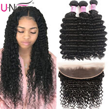 Brazilian Deep Wave Human Hair Extensions 3 Bundles With Lace Frontal Closure US