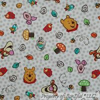 BonEful Fabric FQ Cotton White Red Gray Dot WINNIE The Pooh Dot Tigger Piglet US