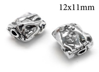 3pc Sterling Silver 925 bead - Hollow Cylinder bead tube 12x11mm Antique silver