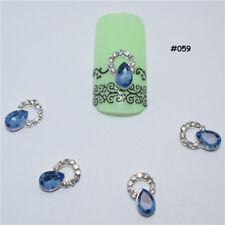 2 St. 3D Nagelschmuck Deko Nail Art Oval Ring Strass blau silber #059