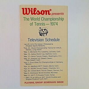 Vintage Wilson 1974 World Championship of Tennis Schedule Players Group Card IL