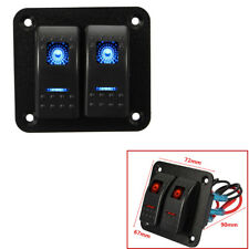 Car Caravan Marine RV 12V/24V 2 Gang Blue Dual LED Light Bar Rocker Switch Panel