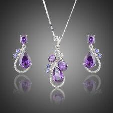 New Sparkling Purple Zircon Flower Jewellery Set Chain Necklace Pendant Earrings