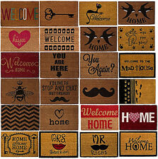 Large Coir Doormat Outdoor Front Door Non Slip Rubber Back Matting Assorted New