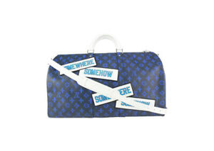Louis Vuitton Somewhere Somehow Blue Keepall Bandouliere 50 Duffle 202lv713