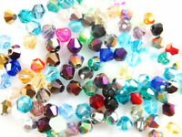 Mixed Color 100Pcs Faceted Glass Crystal Loose Beads Spacer Bicone Finding 6mm