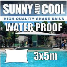 WATERPROOF SHADE SAIL 5Mx3Mx5Mx3M RECTANGLE IN CREAM 3x5m 3mx5m