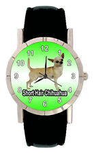 Short Haired Chihuahua Men Lady Genuine Leather Quartz Wrist Watch SA1092
