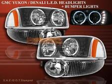 99-06 GMC Yukon Denali Sierra Denali LED Black Headlights Halo + Black Bumper