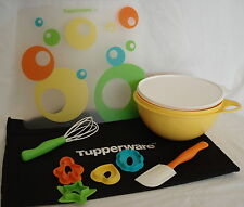 Tupperware KIDS in the KITCHEN Baking Set~Whisk~Spatula~Cutters~Mat~Bowl w/Seal