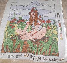 "1976 Red Head Woman in Flower Garden Needlepoint Canvas 14x17"""